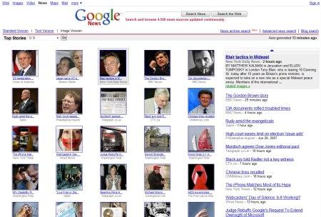 Google News mit Bilder Ansicht seiner Top News
