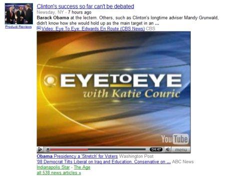 Google News spielt das Video direkt in der Suchausgabe ab