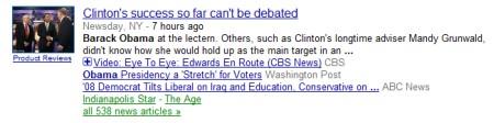 Google News Suche mit zusätzlicher Videoanzeige zur gefundenen News