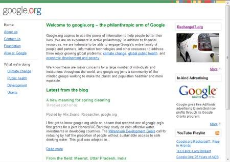 Google.org Homepage