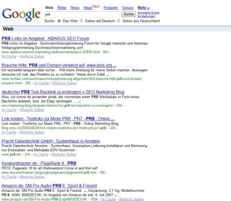 PR8 Linksuche ohne Google AdWords Werbung