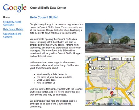 Google Webseite zum Rechenzentrum in Iowa - Council Bluffs