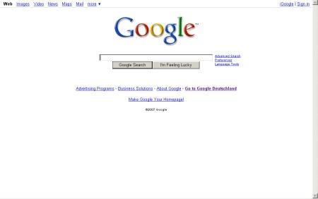 Google Startseite im neuen Design