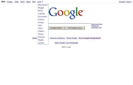Google Startseite - Drop Down Menü für die weiteren Google Services