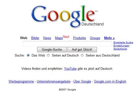 Google Startseite mit Youtube Empfehlung