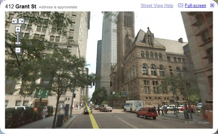Pittsburgh in Google Maps StreetView Ansicht