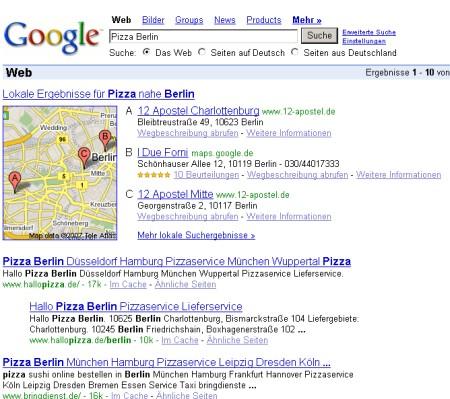 Google Suche nach Pizza - mit Zusatzanzeige der Einräge aus Google Maps