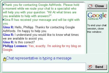 Google Support Chat für Fragen zu Google AdWords und Google Apps