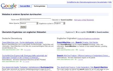 Google Translate: Screenshoot der Google Translate Übersetzungsseite