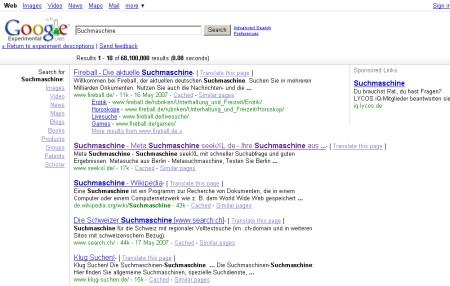 Google Feature in Google Experimental Search - Verfeinerungssuche