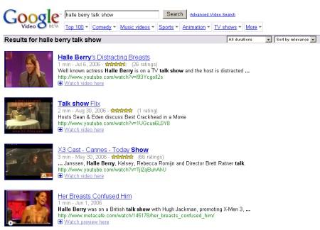 Google Video Suche findet auch Videos von anderen Anbietern