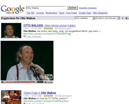 Google Video Suche mit Möglichkeit sich Videos in der Suchausgabe anzusehen
