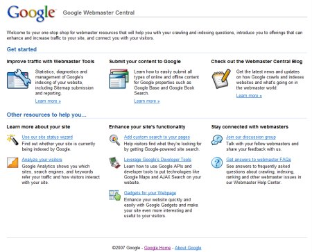 Google Webmaster Central - Neues Design der Google Webmaster Central