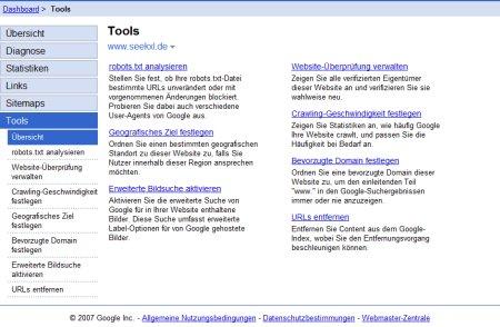 Google Webmaster Tools mit Möglichkeit die Webseite einem geographischen Ziel zuzuordnen