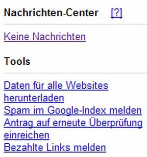 Google Webmaster Tools - Nachrichten Center neu hinzugefügt