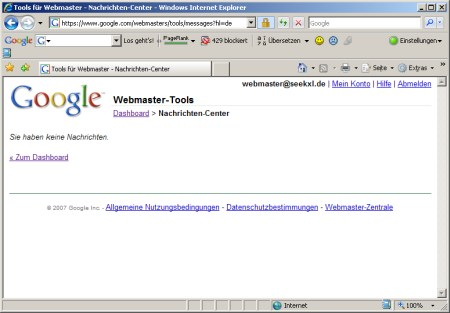 Nachrichten Center - Google Webmaster Tools