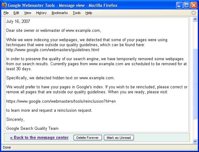 Beispiel Nachricht aus dem Google Webmaster Tools Nachrichten Center