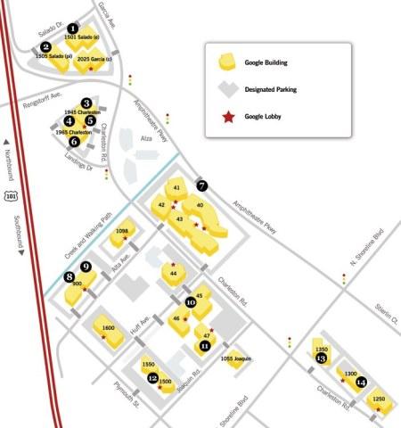 Googleplex - Übersicht zur Gebäudeverteilung im Googleplex in Mountain View