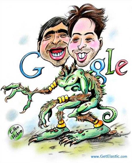 Google Gründer Sergey Brin und Larry Page zu Halloween als Ghoul'gle