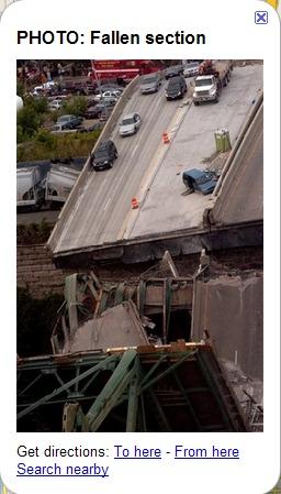 35W Brücke - Blick in den einen Teil der zerstörten 35W Brücke.