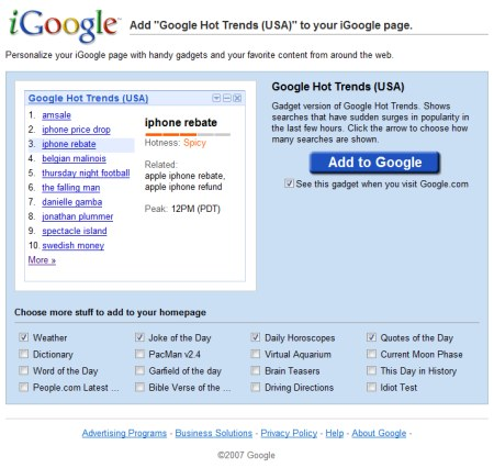 Hot Trends iGoogle Gadget