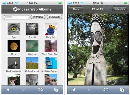 Google Picasa Web Albums auf dem Apple iPhone