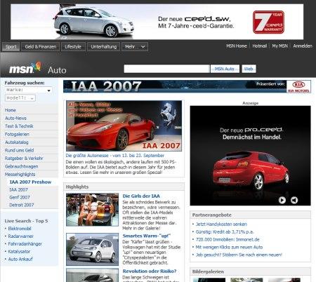 Kia Motor Company Werbung auf MSN Auto Channel Seiten