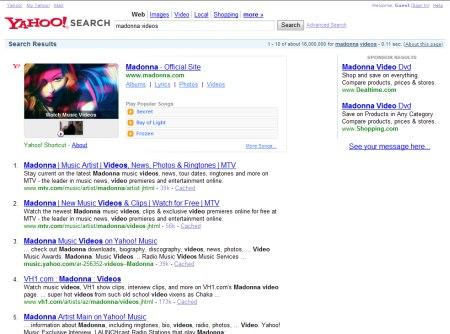Madonna Video Suche auf Yahoo