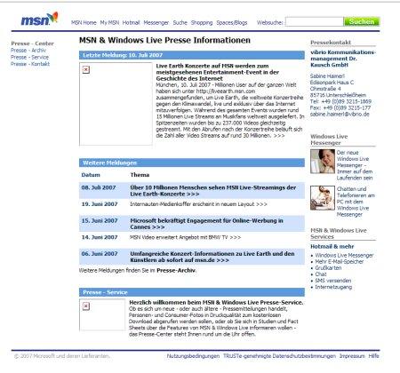 MSN Presscenter Deutschland - Vor dem optischen Relaunch und vor der Umbenennung in Microsoft Online Service Group Center