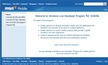 Windows Live Mobile Developer Program