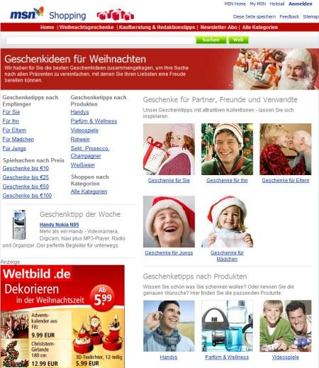 MSN Geschenkideen - Weihnachten 2007