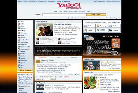 Yahoo! im schwarzen Design