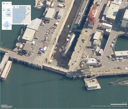 US-Nuklear-U-Boot Sichtung auf Microsoft Virtual Earth