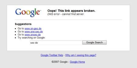 Google Ergebnissseite bei Eingabe einer falschen Webadresse, hier am Beispiel eines Vertippers zu onseo.de