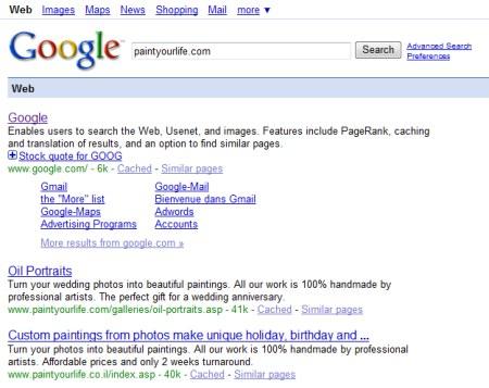PaintYourLife.com: Beispiel für eine Google Bombe