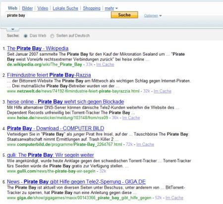 Pirate Bay Suche auf Yahoo