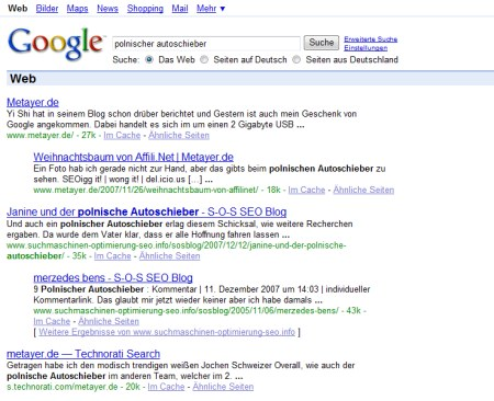 Polnische Autoschieber: Beispiel für eine Google Bombe