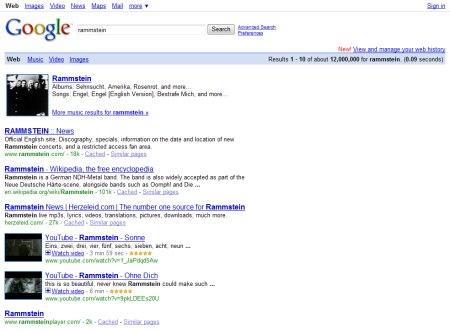 Rammstein Suche auf Google