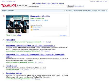 Rammstein Video Suche auf Yahoo