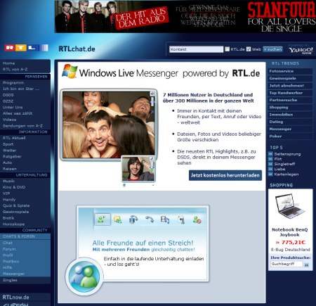 Windows Live Messenger powered by RTL.de