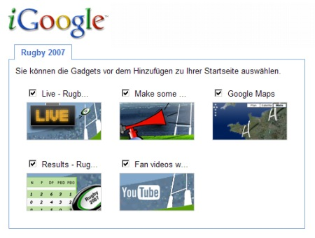 Rugby WorldCup 2007 iGoogle Gadget