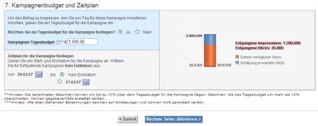 Screenshots zu Budgetierung und Terminierung