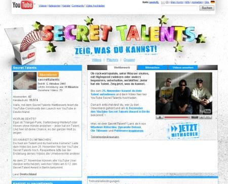 Secret Talents Award - Youtube Deutschland Wettbewerb