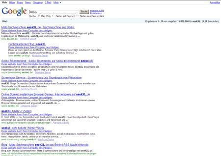 Suche in Google nach seekXL