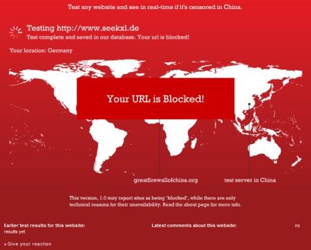 seekXL Suchmaschine in China geblockt und zensiert