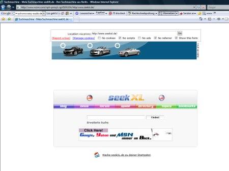 Suchmaschine seekXL - gefangen im Proxy von nzzm.com