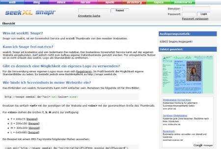 seekXL snapr - kostenloser Capture und Screenshot Service