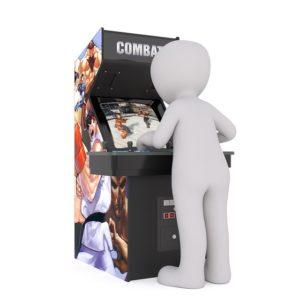 Spielautomat mit Spieler davor