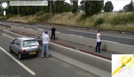 Notgeschäft auf der Autobahn - Google Street View ist immer dabei