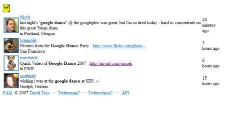 Twitter Kommentare und Eindrücke zur Google Dance Party 2007